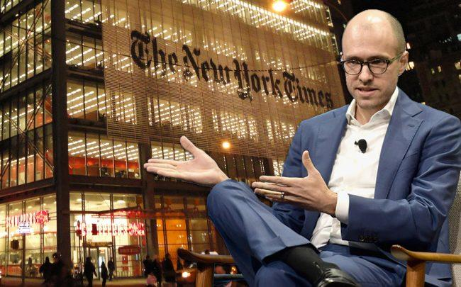 New York Times building and publisher A.G. Sulzberger (Credit: Getty Images, Wikipedia)