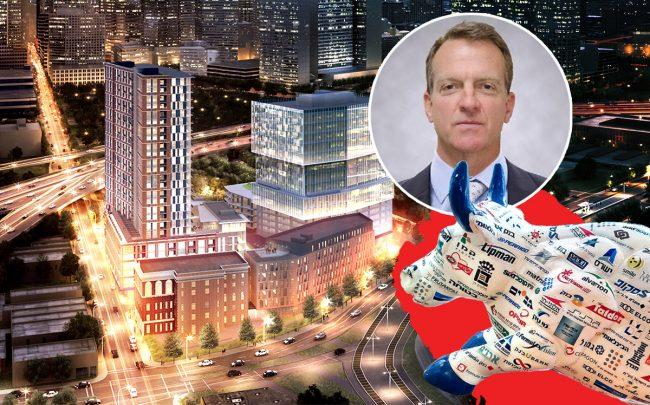 A rendering of the The Epic in Dallas, Texas, Westdale CEO Joe Beard and the Tel Aviv Stock Exchange Bull(Credit: Westdale, Wikipedia)