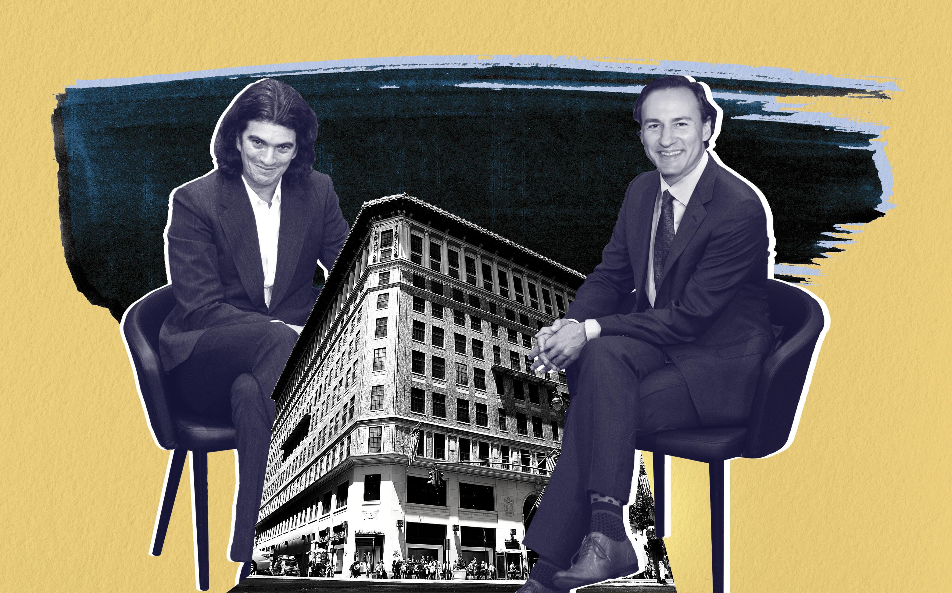 Former WeWork CEO Adam Neumann and Rhône's Steve Langman with the Lord and Taylor Building at 424-434 Fifth Avenue (Credit: Getty Images)