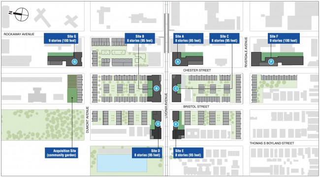 Site Plan for the Marcus Garvey Extension project. Source: NYC Department of City Planning