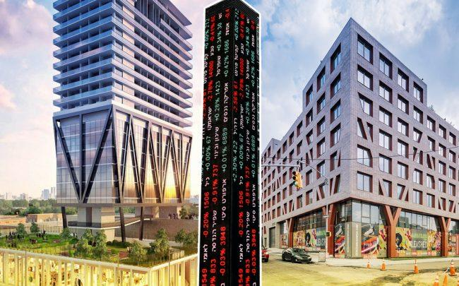 Renderings of The William Vale and Denizen Bushwick with a Tel Aviv Stock Exchange ticker
