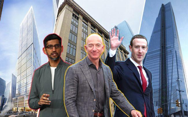 From left: 50 Hudson Yards, 341 Ninth Avenue, 30 Hudson Yards (background) with Google's Sundar Pichai, Amazon's Jeff Bezos and Facebook's Mark Zuckerberg (Credit: Google Maps and Getty Images)