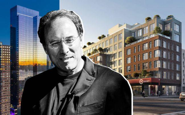 Extell Development chairman Gary Barnett with 555 Tenth Avenue and 524 East 14th Street (Credit: Barnett by Anuja Shakya, 555ten and StreetEasy)
