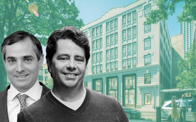 King Street Properties' Rob Albro, Eric Gural and 45-18 Court Square in Queens (Credit: GFP Real Estate, King Street Properties, and LoopNet)