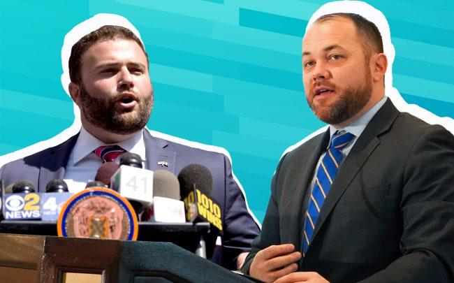 Staten Island City Councilman Joe Borelli and City Council Speaker Corey Johnson (Credit: Getty Images)