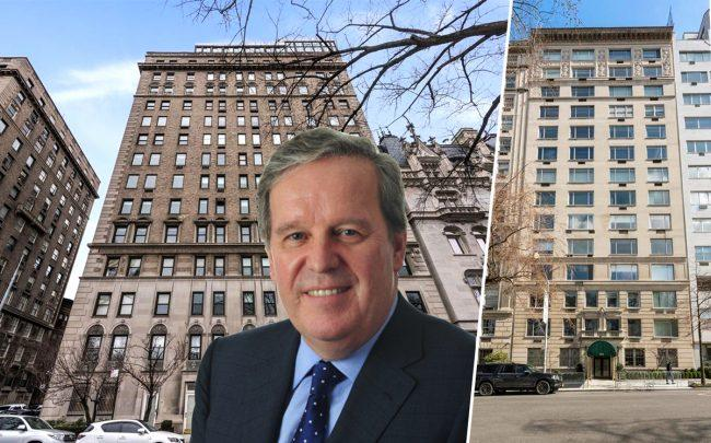 From left: Colgate chairman Ian Cook and 1115 Fifth Avenue and 912 Fifth Avenue (Credit: Cuny, StreetEasy)