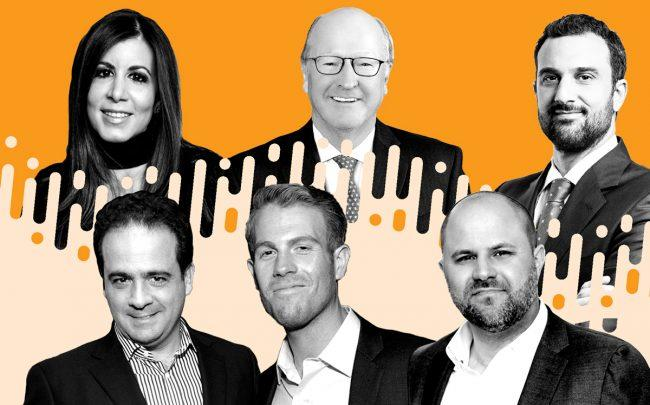 Clockwise from left: JLL's Michele Mahl, Savills' Peter Hennessy, Eastdil Secured's Will Silverman, Christie's Brian Meier, Nest Seekers' Mike Fabbri and Compass' Charlie Attias