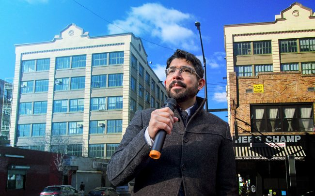 Council member Carlos Menchaca and Industry City (Credit: Getty Images and Wikipedia Commons)