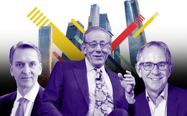 From left: Brookfield CEO Bruce Flatt, Related Chairman Steve Ross, L+M Development CEO Ron Moelis with Hudson Yards and One Manhattan West (Credit: Getty Images, iStock)