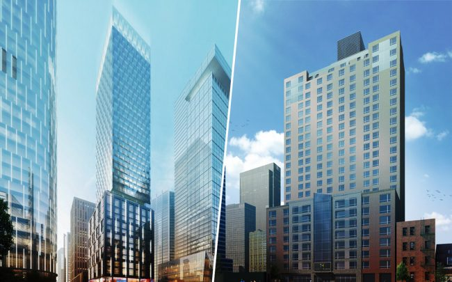 Renderings of 450 11th Avenue and 350 West 39th Street (Credit: DSM Design Group and Gene Kaufman Architect)