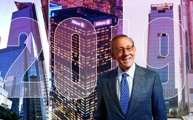 Related chairman Stephen Ross with 30 Hudson Yards, 1633 Broadway and 55 Hudson Yards (Credit: Getty Images, Paramount, Wikipedia)