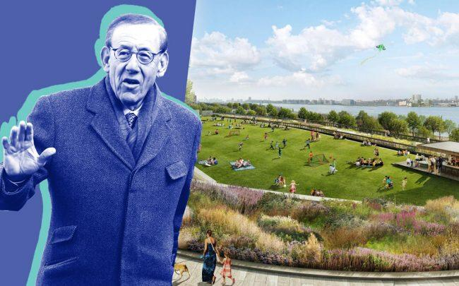 Related chairman Stephen Ross and a rendering of Western Yard (Credit: Getty Images and Hudson Yards)