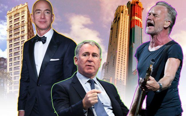 From left: Jeff Bezos with 212 Fifth Avenue and Ken Griffin and Sting with 220 Central Park South (Credit: Getty Images, StreetEasy)
