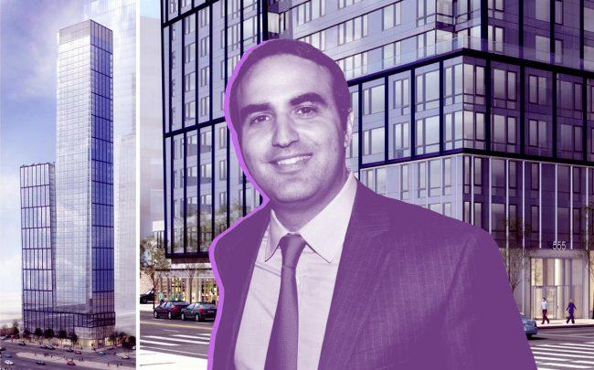 Renderings of 555 West 38th Street and Rockrose Development's Justin Elghanayan (Credit: Rendering by Pelli Clarke Pelli)