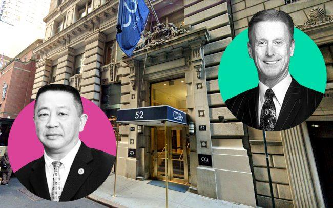 From left: Sam Chang, 52 William Street and New York Hotel & Motel Trades Council's Peter Ward (Credit: Google Maps)