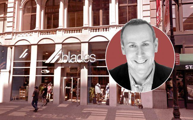 Blades founder Jeff Kabat and the store at 659 Broadway (Credit: LinkedIn and Google Maps)