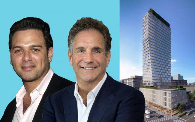 Hope Street Capital's Sha Dinour and Square Mile Capital's Craig Solomonwith renderings of 550 Clinton Avenue in Brooklyn (Credit: Getty Images and Morris Adjmi Architects)