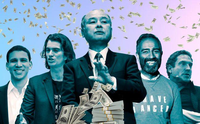 From left: Compass' Robert Reffkin, Adam Neumann, Softbank's Masayoshi Son, Knotel's Amol Sarva and Knock's Sean Black (Credit: Getty Images, iStock, Wikipedia)