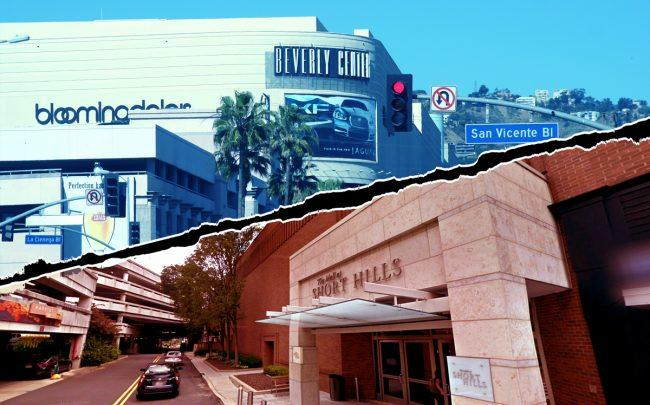 Beverly Center in Los Angeles (top) and The Mall at Short Hills in New Jersey (bottom) (Credit: Wikipedia, Google Maps)