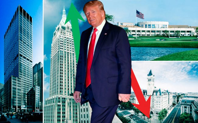 Clockwise from left: 1290 Sixth Avenue, 40 Wall Street, President Donald Trump, Trump National Doral in Miami and Trump International Hotel in Washington, DC (Credit: Getty Images, Vornado, Wikipedia)