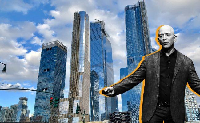 Amazon CEO Jeff Bezos and Hudson Yards (Credit: Getty Images and Wikipedia)