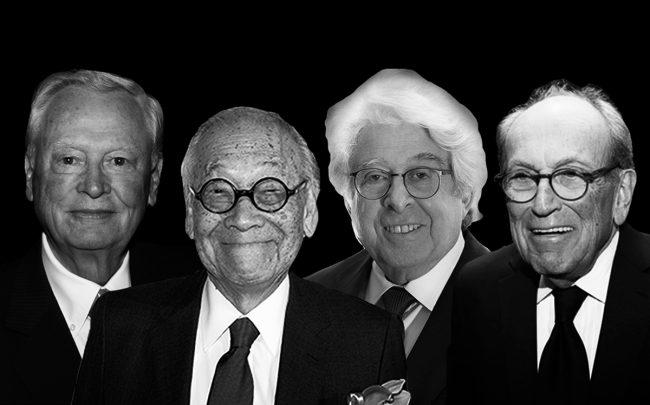 From left: Barron Hilton, I M Pei, Jay Kriegel and Burt Resnick (Credit: Wikipedia, Getty Images, Adam Pincus)