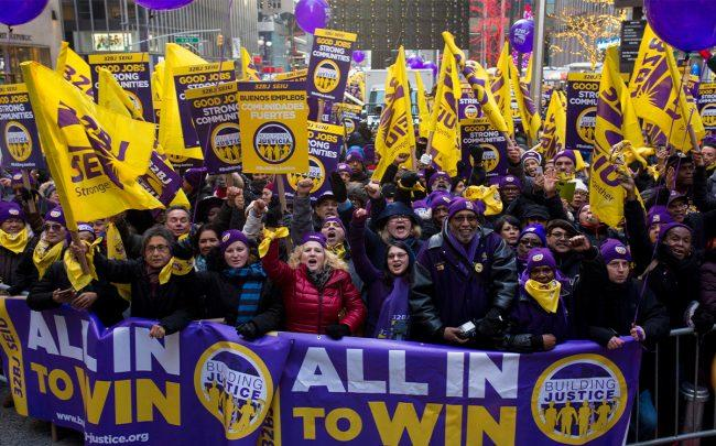 A moment from Wednesday's rally (Credit: SEIU 32BJ)