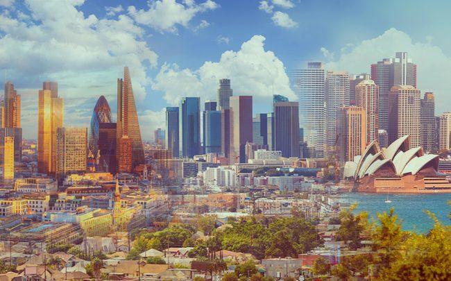 London, Los Angeles and Sydney skylines (Credit: iStock)