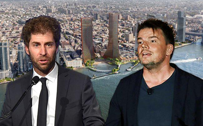 Two Trees's Jed Walentas, Bjarke Ingels and a rendering of the project (Credit: Getty Images, BIG)