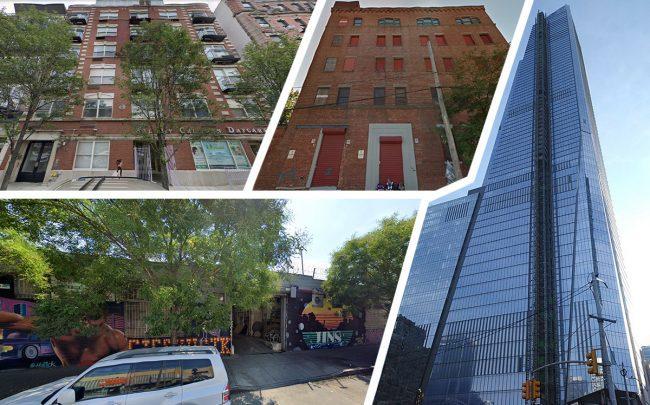 Clockwise from top left: 114 Ridge Street, 780 East 135th Street, 30 Hudson Yards and 1274 Flushing Avenu (Credit: Google Maps)