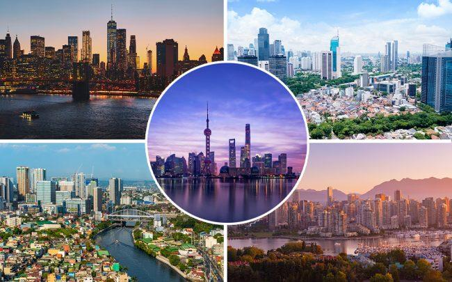 Clockwise from top left: New York, Jakarta, Shanghai (inset), Vancouver and Manila (Credit: iStock)