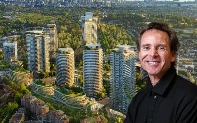 Ian Gillespie and A rendering of the Oakridge development (Credit: Very Polite Agency via Bloomberg)