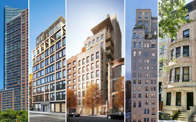From left: the Ritz-Carlton, 32 East 1st Street, 560 West 24th Street, 301 East 80th Street and 32 West 85th Street