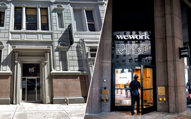 WeWork locations at 115 West 18th Street and 85 Broad Street (Credit: Google Maps, Getty Images)