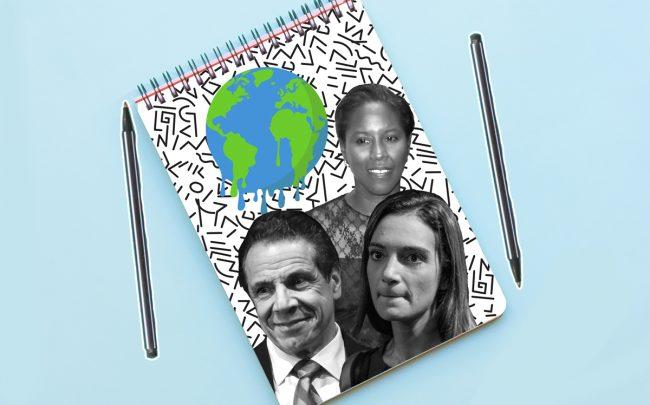 Clockwise from left: Andrew Cuomo, Louise Carroll and Julia Salazar (Credit: Getty Images and iStock)