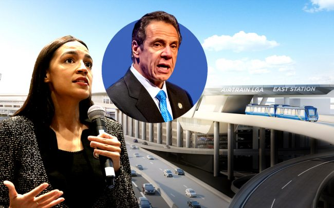 Rep. Alexandria Ocasio-Cortez, Governor Andrew Cuomo (inset) and a rendering of LaGuardia's AirTrain (Credit: Getty Images, ANewLGA)