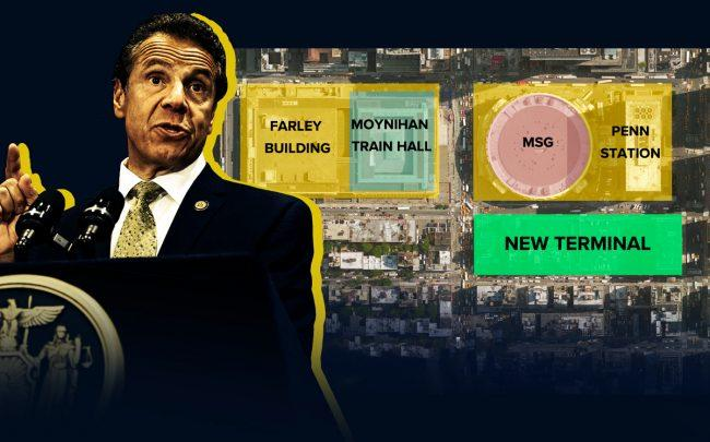 Governor Andrew Cuomo and an an aerial of Penn Station's planned expansion (Credit: Getty Images and New York State)