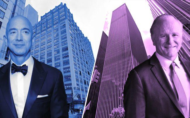 Amazon CEO Jeff Bezos with 410 Tenth Avenue and 1251 Sixth Avenue with Mitsui Fudosan America's John Westerfield (Credit: Google Maps, Getty Images, Wikipedia)