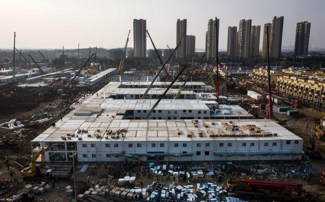 China's prefabricated hospital in Wuhan on January 30. (Credit: Getty Images)