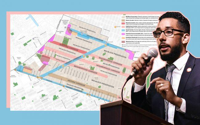 Council Member Antonio Reynoso and a map of Bushwick Planning Framework (Click for more info)