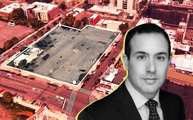 LCOR's Anthony Tortora and the parking lot at 1517 Surf Avenue (Credit: Google Maps and LCOR)