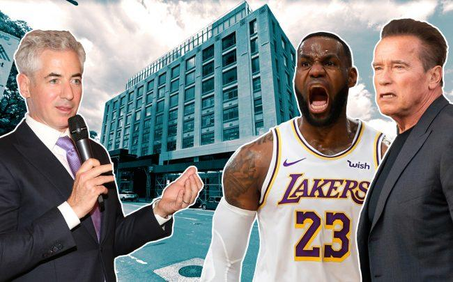 Bill Ackman, LeBron James, and Arnold Schwarzenegger with 787 11th Avenue (Credit: Google Maps and Getty Images)