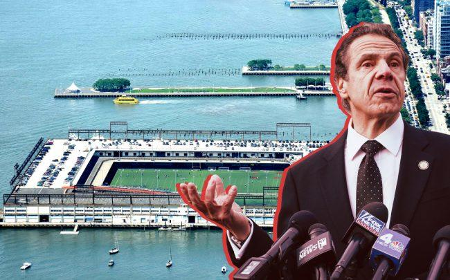 Pier 40 and Gov. Andrew Cuomo (Credit: Wikipedia and Getty Images)