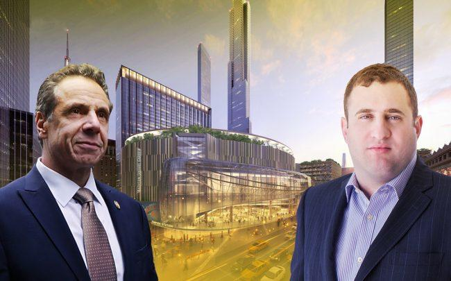 A rendering of Empire Station with Governor Andrew Cuomo and JDS Development's Michael Stern (Credit: Getty Images, JDS)