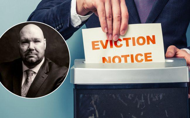 The drop in evictions may be a result of confusion over the implementation of the law. CHIP's Jay Martin (inset) (Credit: iStock and Twitter)