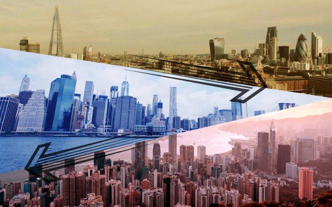 From top: London, New York and Hong Kong (Credit: Unsplash)