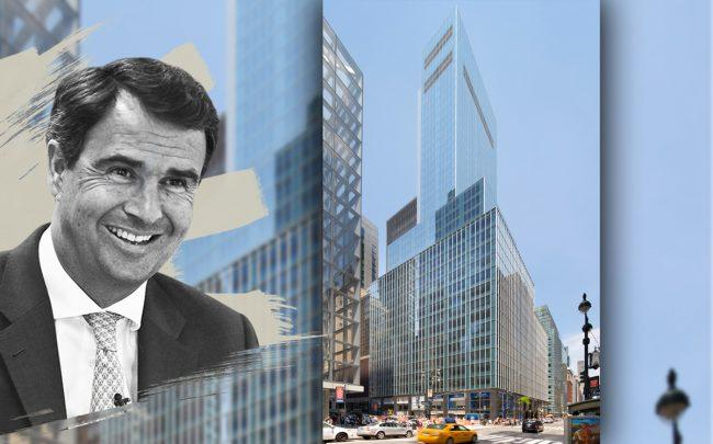 JLL CEO Christian Ulbrich and 330 Madison Avenue (Credit: JLL and Steel Institute of New York)
