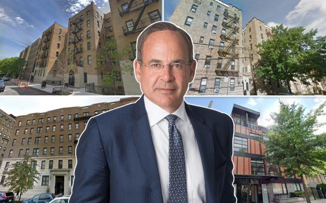 Clockwise from top left: 213 Bennett Avenue in Hudson Heights, 25-74 33rd Street in Astoria, 170 North Fifth Street in Williamsburg, and 106 Fort Washington Avenue in Washington Heights with Madison International Realty President Ronald Dickerman (Credit: Google Maps, Madison International Realty)