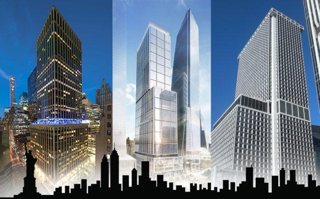 437 Madison Avenue, 50 Hudson Yards, and 1 New York Plaza (Credit: 437 Madison, Hudson Yards, Wikipedia)