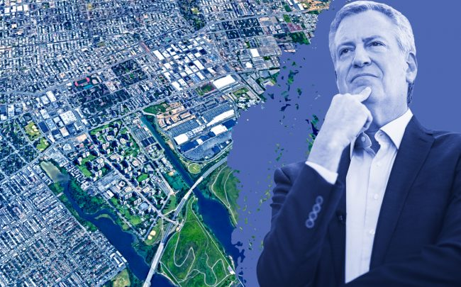 An aerial of East New York and Mayor Bill de Blasio (Credit: Google Maps and Getty Images)